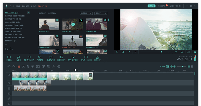 wondershare video editor ui-dark